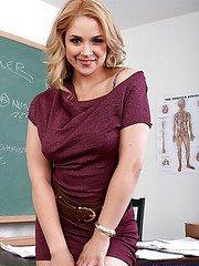 Hot blonde teacher fucks her student