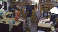 Lovely Busty babe gets pawned inside her pussy in the pawn shop office