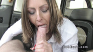 Chestnut beauty rimming and fucking in cab