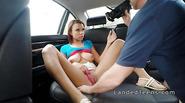Busty black teen rides white big cock pov in car