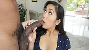 Mia Li sucking a big black cock deep throat