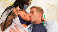 Candy loves to press her big tits against the faces of her patients