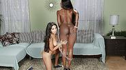 Black Diamond Jacksons pussy creampie with Trinitys bfs cock