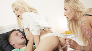 Hot blonde milf Kayla Green teaches some oral sex lesson in threesome