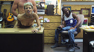 Curly guy is watching his Girlfriend pussy being fucked by the pawnshop pervert owner