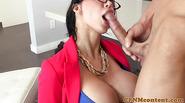 Busty milf femdom in spex sucks before fucking sub