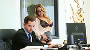 Hot blonde Corrina getting fucked at the table by her hunk boss