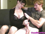 Classy cougar cumcovered after some tugging