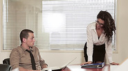 Fuzzy haired babe Alexa gets banged at the office table