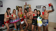 A costume themed party with hot and sexy coeds fuck randomly
