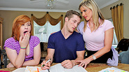 Gorgeous MILF Cory Chase joins teens for a free sex lesson