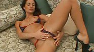 Blonde and turned on hooker plays and teases with a huge purple dildo
