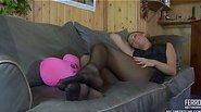 Shenythia massaging her nylon feet