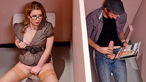 Busty teacher Sunny Lane fucked and facialed in the bathroom
