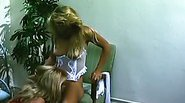 Hot lingerie gals fuck on the floor