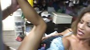 Busty chick gets her feet creamed