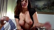 Hottie gives a handjob to a hard cock