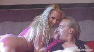 Blonde stripper teasing a horny guy