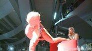 Slutty stripper sitting on a massive dildo