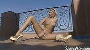Blondie Sasha Von showing off her horny pussy