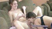 Busty Lynne munching a cute redhead college girl