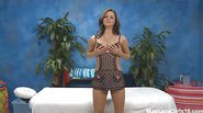 Cute 18 year old massage therapist Hope gives a little more than a massage!