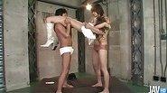 Mizuki Ishikawa  in white boots has her body played with by 2 horndogs
