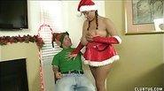 Santas Little Helper Gets Milked Dry