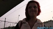 Redhead Alice fucked at the tram station