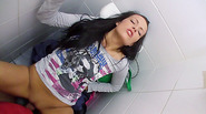 Sexy and beautiful amateur gets fucked in public toilet for cash