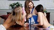 Three lusty teens enjoying lesbian sex
