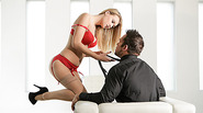 Blonde sensation Natali Starr wears her sexy red lingerie and gets fucked