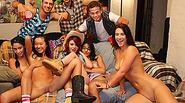 Group of coed girls havin a massive orgy