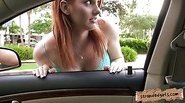 Busty redhead teen girl Rainia Belle railed in the car