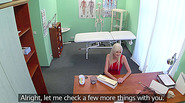 Hot blonde patient rides a big cock after she convincing the pervy doctor