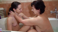 Old granny and teen lesbian toy joy