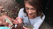 Kirsten Lee sucks huge cock in an abandoned building for cash