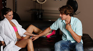 Horny Jamie could not wait to have sex with guy into getting a free nuru massage