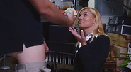 Sexy milf gets paid and taken at the back of the pawnshop and banged