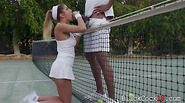 Busty teen August Ames interracial sex after playing tennis