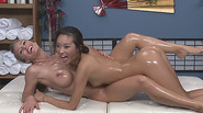 Hot girls fills their bodies with oil and rubs tits and pussies together