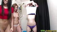 Teen college skanks dance and flash