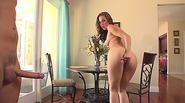Aidra kneels down while wetting the thick shaft and her hole gets screwed
