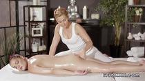 Hot brunette licks and fingers her masseuse