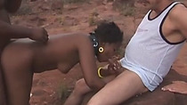 African slut gets tied and spanked before hardcore threesome action