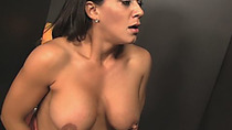 MILF Leena Sky gives head to big cock from glory hole