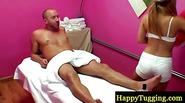 Blonde asian busty masseuse pleasing guy