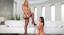 Lesbians Amara Romani and Phoenix Marie playing with pussies