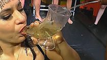 She has to perky every last drip of urine before she can be used by all the present men.