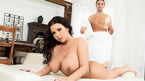 Its a gardening day and big tits Keiran is injures and gets a massage